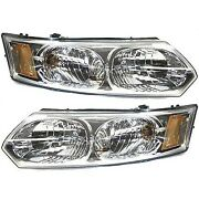 Headlight Set For 2003-2007 Saturn Ion Left And Right With Bulb 2pc