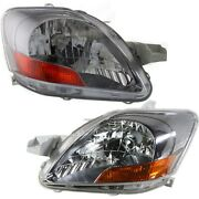 Headlight Set For 2007-2011 Toyota Yaris Sedan Left And Right With Sport Package