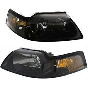 Headlight Set For 2001-2004 Ford Mustang Driver And Passenger Side W/ Bulb