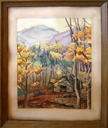 Mike Hodges Smokies Overlook Antique Framing Watercolor 1972 Hand Signed