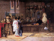 Art Oil Painting Beautiful Young Japanese Girls In Antique Shop With Bird Crane
