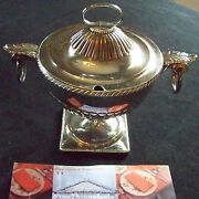 C1815 - Old Sheffield Plate Silver Extra Fancy Round Covered Footed Sauce Tureen
