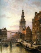 Oil Painting Cornelis Christiaan Dommelshuizen The South Church At Dusk Holland