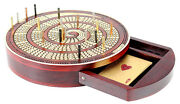 Spiral Shape Round Cribbage Board Continuous 4 Track With Drawer And 20 Metal Pegs