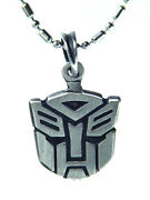 Butw- Pewter Autobot Symbol Pendant Necklace Bead 24 Stainless Chain 1004k