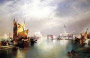 Large Oil Painting Thomas Moran - The Splendor Of Venice And Great Building Church