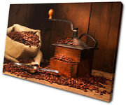 Food Kitchen Coffee Grinder Beans Single Canvas Wall Art Picture Print Va