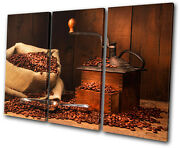 Food Kitchen Coffee Grinder Beans Treble Canvas Wall Art Picture Print Va