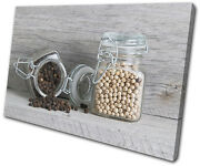 Food Kitchen Spices Jars Single Canvas Wall Art Picture Print Va