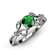 6.00 Mm Emerald Women Floral Solitaire Ring 0.75 Ct In 14k Gold Jp34443