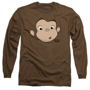 Curious George Monkey Childrens Book George Face Adult Long Sleeve T-shirt