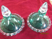 Vintage Pair Deco Czech Glass Green And Clear Perfume Bottles Decanters Unique