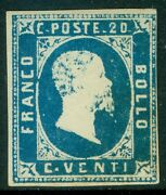 Italy Sardinia 1851. Sassone 2. Very Rare Stamp With Full Og And Signed And039dienaand039