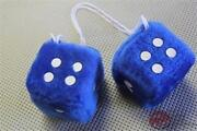 Blue Fuzzy Novelty Dice For Hot Rat Street Rod Custom And Vintage Classic Cars