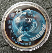 Michael Jordan 1 Oz 24 Kt .gold Plated Collectible Coin  9