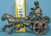 1910 Authentic Old Cast Iron Toy Horse Drawn Pony Cart 4 Long On Sale T115