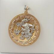 Victorian 14k Rose White Gold Chinese Dragon Hand Carved Charm Pendant Large 13g
