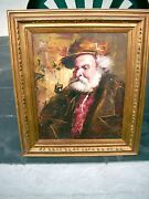 Man With Pipe Oil Painting And Frame 27 X 23 Garica Jeanmarie Gallery New York