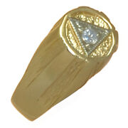 Aa Alcoholics Anonymous, Mens Ring With 1-10pt Diamond, 608 Size 6.5,14k Gold