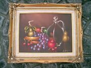 Vintage Oil Painting Still Life Fruit And Decanter Artist Signed