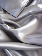 4 Pc 100 Mulberry Silk Charmeuse Sheet Set Full Size Silver Grey Gray