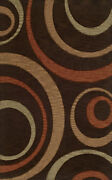 Brown Transitional Loops Curls Area Rug Circles Tr11