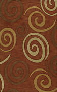 Brown Transitional Swirls Loops Area Rug Circles Tr13