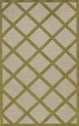 Green Checkered Crosshatch Lines Transitional Area Rug Checked Tr14