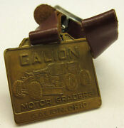 Antique Galion Motor Graders Pocket Watch Fob W/ Leather Strap