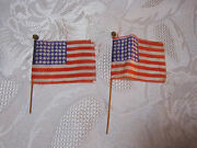 Antique Toy Small 2 American Flags For Toy Figures T