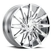 24 X 9 Vct V86 Chrome Wheels Rims Fit 5 X 115 And 5x120