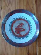 Antique Japanese Dai Nippon Dragon Plate Bowl Silver Overlay Meiji 1868-1912