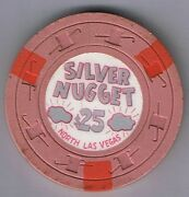 Silver Nugget 25.00 Hat And Cane Mold Casino Chip 1965 North Las Vegas Nevada