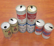 Vintage Man Cave Lot Of 8 Beer Cans Busch Billy Coors And Old Milwaukee