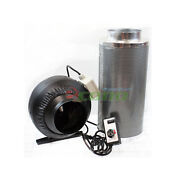 6 Carbon Filter Inline Fan Air Blower Speed Controller Hydroponic Odor Scrubber