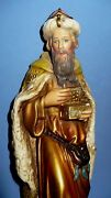 Vintage 1950and039s Christmas Nativity Chalkware Large 9.5 King Germany Very Nice