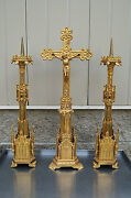 + Candlesticks And Altar Cross + Beautiful Ornate Gothic Vintage Set + Chalice Co.