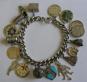 Antique 1900 German Silver And Enamel Charm Bracelet 17 Charms Jester Pig Tokens