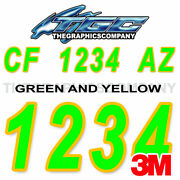 Green Yellow Custom Boat Registration Numbers Decals Vinyl Lettering Stickers