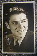 1940 Ronald Reagan Real Photo Postcard With Los Angeles Postmark And Signature