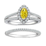 1.35 Cts Yellow Marquise Diamond Solitaire 14k White Gold Fancy Halo Bridal Ring