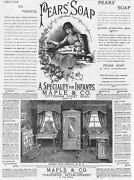 Victorian Adverts Pears Soap, Maple And Co Furniture - Antique Print 1886