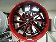 22 X 9.5 Black And Red 0016 Wheels Rims And Tires Fit 5x115 Offset 20 New Product