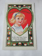 Valentine Greetinings Embossed Card In This Little Book Of Mine Vintage T