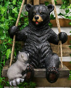 Large Swinging Black Bear With Buddy Raccoon Hanging Statue With Rope Ties 15h