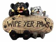 Honey Black Bear And Raccoon Statue Wipe Your Paws Greeter Welcome Sign Home Decor