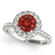1.6 Ct Round I1 Red Diamond Solitaire 14k White Gold Valentineday Sale Halo Ring