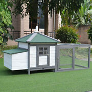 77and039and039 Chicken Coop Hen Cage Wooden House Backyard Patio W/ Nestbox Run