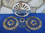 For Harley Fx And Customs Dna Spoke 70 T 1 1/2 Pulley Brake Rotors Parts Kit