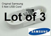 Lot Of 3 Original Oem 5 Feet Samsung Galaxy S3 S4 S6 S7 Edge Note 4 5 Usb Cable